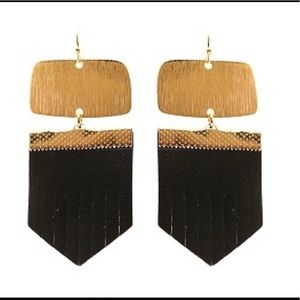 Brushed Metal Leather Fringe Earrings